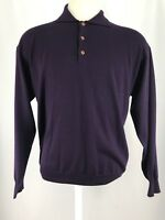 Jeff Rose 100% Wool Collared Pullover Sweater Made In Italy Men's Sz Large EUC