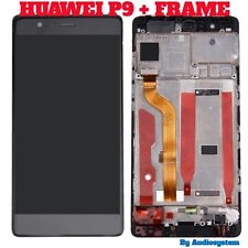 GLS: DISPLAY LCD +TOUCH SCREEN + CORNICE per HUAWEI P9 NERO FRAME COVER EVA-L09