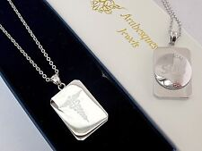 SOS NECKLACE/PENDANT MEDICAL EMERGENCY/SILVER PLATED STAINLESS STEEL TALISMAN