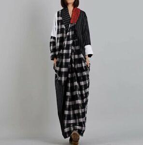 Urban Black White Loose Red Beige Tartan Pinstripe Long  Pockets Dress 8 10