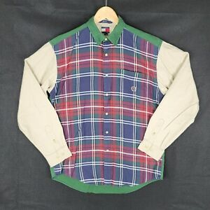 Vintage 90s Tommy Hilfiger shirt plaid mens adult xl button up green red blue