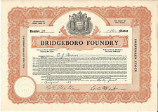 New Jersey Bridgeboro Foundry Stock Certificate 1927 #37