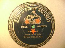 ZONOPHONE 78 RECORD/ SEVENTH REGIMENT BAND/ LA MEXICANA/SOUIRE D'AVRIL WALTZ/VG+