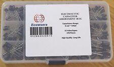 15 Value/Type 270 pcs Electrolytic Capacitor Assortment Box Kit 0.1uF to 470uF