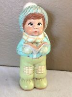 Vintage Christmas Caroler Figurine Holding Book with Real Cotton on His Hat Rare