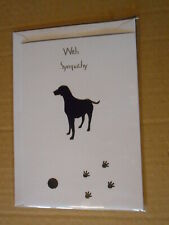 Black Dog With Ball & Paw Prints Handmade Sympathy Card