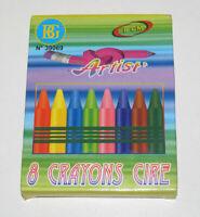 Set de 8 Crayons de Couleur en Cire 8 cm NEUF