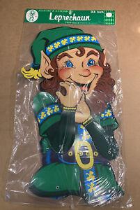 "NOS Vintage Beistle St Patricks Jointed Leprechaun Elf Cardboard 33"" TALL 1982"