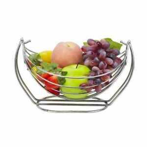 Chrome Fruit Basket Vegetable Swinging Bowl 1/2/3 Tier Rack Storage Stand Holder