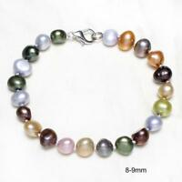 Natural Baroque Freshwater Cultured Pearl Women Bracelet Bangle Jewelry Gifts