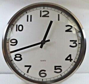 "Ikea PUGG Quartz - Silent Running-12.5"" Stainless Steel Encased Wall clock"
