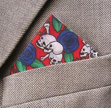 SUPERNOVA Skull & Roses Pocket Square Handkerchief Indie Goth Halloween Scary