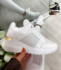Ladies Wedge Trainers Womens Sneakers Lace Up Comfy Classic Jogging Pumps Shoes