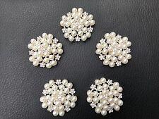 5  Crystal Pearl Silver Metal Flat Flower Button Brooch DIY Wedding Bouquet 29mm