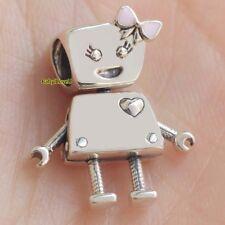 925 Sterling Silver Bella Bot Charm Pink Enamel Robot Bead Fit European Bracelet