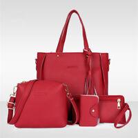 4pcs Women Leather Handbag Ladies Shoulder Bags Tote Purse Messenger Satchel QP