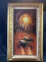 Vintage MCM Original Oil on Canvas Artist Signed Harbor Scene Framed Beautiful