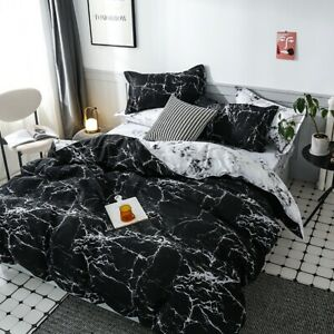 Marble Black Quilt Doona Duvet Cover Set Double Queen King Super Size Bed Linen