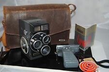 Vintage Rondo Tri-lens Cinematic 8 movie camera w/ leather case and pistol grip
