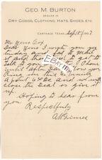 1907 CARTHAGE TEXAS George M Burton A W Grimes LETTERHEAD Dry Goods Clothing Hat