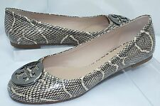 NUEVO Tory Burch Reva Zapatos negros manoletinas planas Size 7.5 Cuero natural