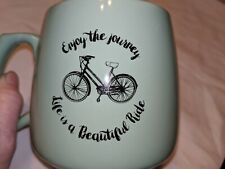 Enjoy The Journey, Life Is A Beautiful Ride Cup/Mug. Mint Green with a Bicycle.