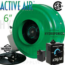"Active Air 6"" inch Inline Duct Blower Fan  & Duct Speed Controller - HydroFarm"