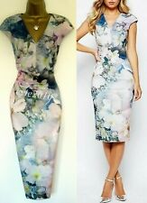 BNWOT Ted Baker Dress sz TB 3 (UK 12) Amily Floral Pink Blue Grey Immaculate