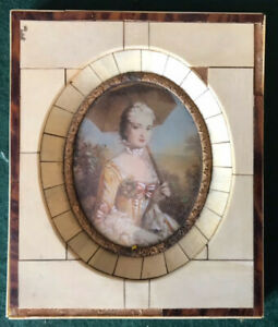Miniature painting portrait of lady enclosed in an Ivorian frame