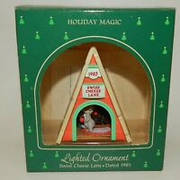 1985 Hallmark Christmas Ornament Lighted Swiss Cheese Lane with Mouse MIB