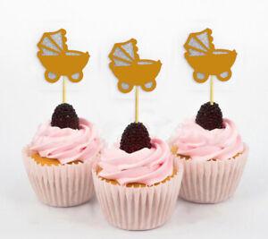 Darling Souvenir| Baby Pram Baby Shower Cupcake Toppers| Dessert-zDu