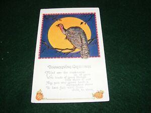 VINTAGE POSTCARD ART THANKSGIVING GREETING TURKEY PUMPKIN MOON VERSE