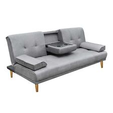 Linen Fabric 3 Three Seater Sofa Bed Mattress Couch 2 Cup Holder Grey