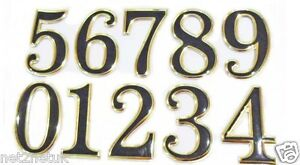 Self Adhesive 3D House Shop Door Numbers 5CM Tall Sticker Black & Golden 0 to 9