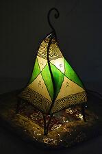Moroccan Floor Lamp Henna Goat Skin Handmade Decorative Decor SM Beige/Green