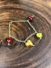 """14K Gold Bracelet Venetian Glass Hearts Charms Red Green 7"""" Made In Italy"""