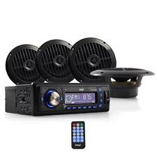 "Pyle PLMRKT14BK Marine Audio Speaker System Head-Unit MP3 AM/FM 4 x 6.5"" Black"