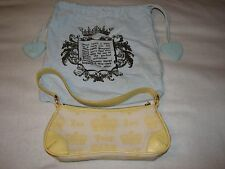 JUICY COUTURE Yellow Canvas Leather Love Purse Hand Bag Small Summer Dust Bag