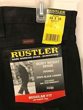 Rustler Men's Black Jeans Size 44W X 30L Reg Fit Durable NWT