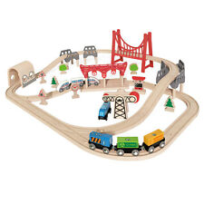Hape Double Loop Railway Set Pre-school Wooden Train Toddler Toy 3 Years +