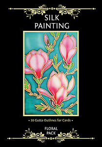 Silkcraft Silk Painting -Printed Gutta Outlines -For cards-Floral Pack (Pack 20)