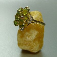 60 (19,1 mm Ø) Toller Ring 375/9k Gold Diamant Peridot Damenring