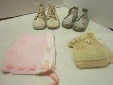 "2 pair 1950's white leather baby shoes 4"" long-Wee Walker washable leather+ more"