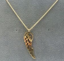 """9ct Gold Angel Wing Pendant & 17 1/2"""" 9ct Gold Chain * Fully Hallmarked *"""