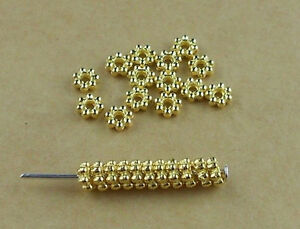 200Pcs 4mm Gold Plated Tiny Daisy Spacer Loose Beads DIY Jewelry