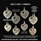 Custom Engraved STAINLESS STEEL Heart Pet Tag PAW Dog Cat ID IDENTIFICATION