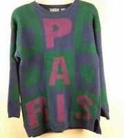 Vintage Paris Spell Out Knit Sweater Color Block Paris Sport Club Womens Small