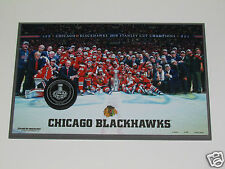 2015 CHICAGO BLACKHAWKS Stanley Cup Champions Team Photo/Game 6 Puck WOOD PLAQUE
