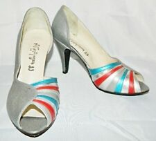 Silver Pewter D'Orsay Pumps Metallic Multi Color Leather Shoes size 7.5 Vintage