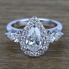 VINTAGE 14K WHITE GOLD OVER PEAR SHAPE DIAMOND ENGAGEMENT WEDDING RING